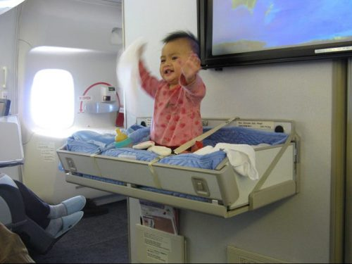 baby in airplane